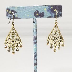 Chandelier Earrings Brown and Clear Stones